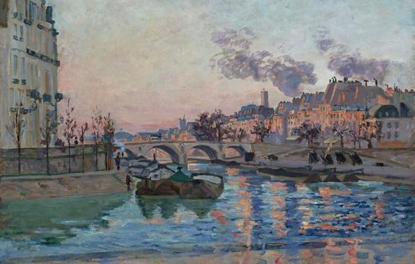 Картинка мост, река, Париж, дома, картина, Paris, городской пейзаж, Арман Гийомен, the Bridge of Marie