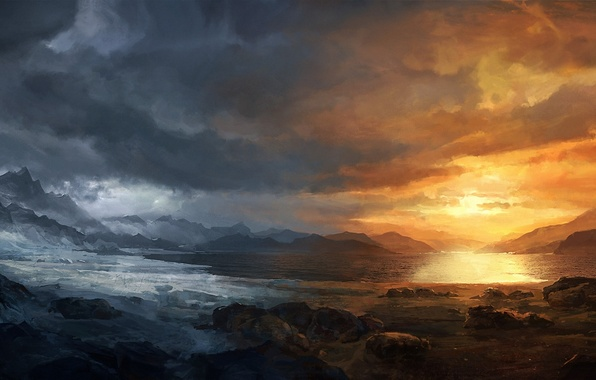 Картинка холод, снег, закат, горы, тучи, озеро, камни, арт, сезоны