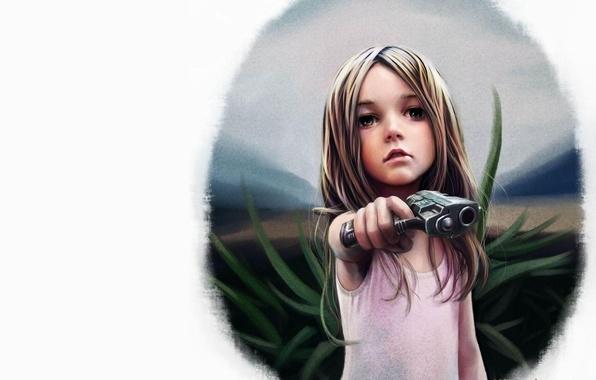 Картинка пистолет, рисунок, девочка