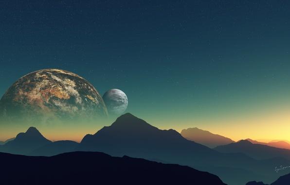 Картинка небо, звезды, горы, планета, спутник, ландшфат