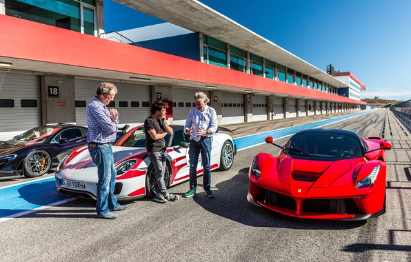 Картинка Jeremy Clarkson, Джереми Кларксон, Ричард Хаммонд, Джеймс Мэй, Richard Hammond, James May, Ferrari LaFerrari, McLaren …