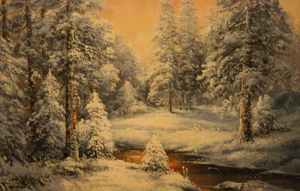 Картинка холод, зима, снег, фон, обои, мороз, Новый год, живопись, зимний лес, Зорин