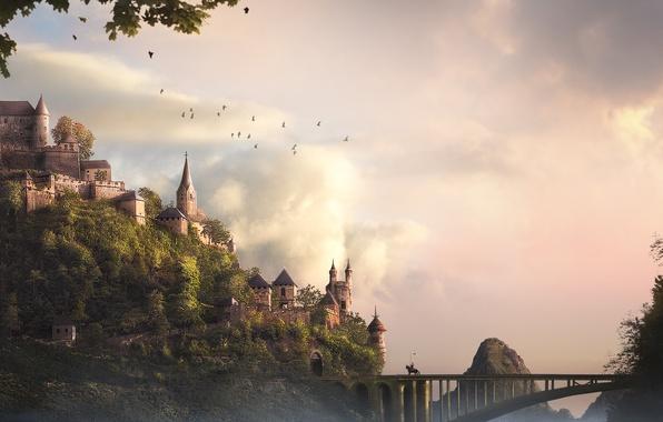 Картинка деревья, птицы, мост, замок, арт, всадник, крепость, рыцарь
