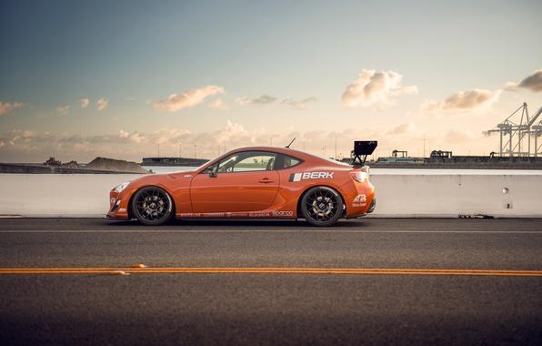 Картинка оранжевый, тюнинг, профиль, Toyota, tuning, orange, Scion, сцион, fr-s, фр-с