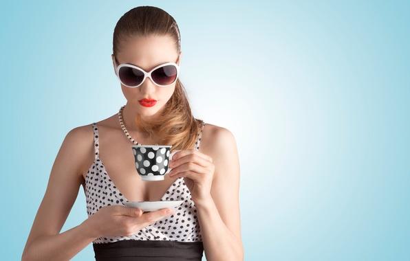 Картинка девушка, кофе, макияж, очки, girl, шатенка, brown hair, coffee, glasses, makeup