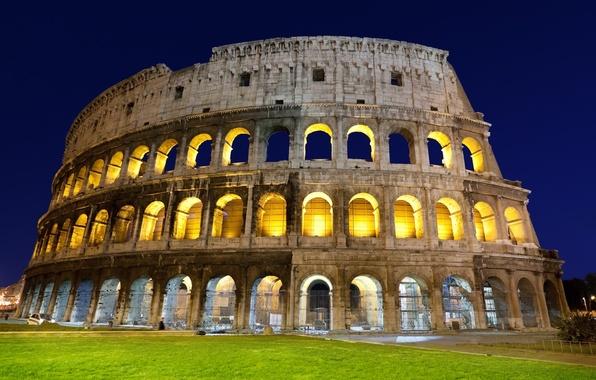 Картинка трава, свет, вечер, Рим, Колизей, Италия, архитектура, Italy, Colosseum, Rome, амфитеатр