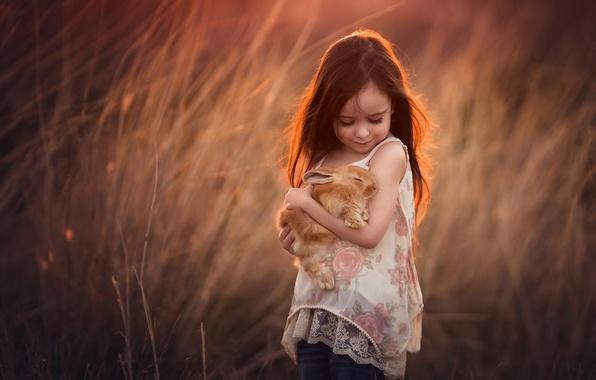 Картинка природа, кролик, девочка