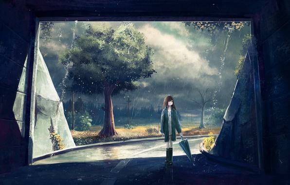 Картинка девушка, деревья, дождь, столбы, провода, листва, арт, тоннель