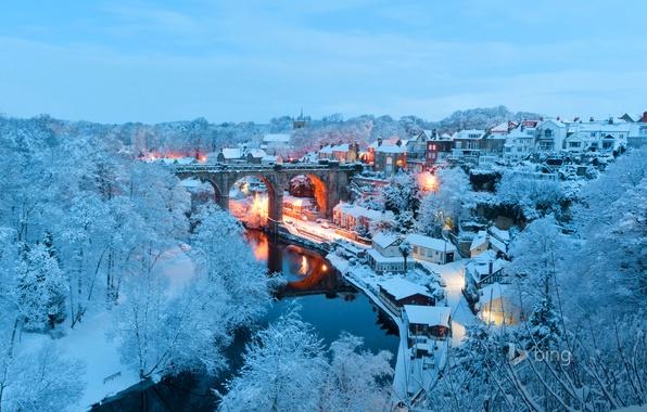 Картинка зима, снег, пейзаж, мост, огни, река, Англия, дома, Северный Йоркшир, Нерсборо