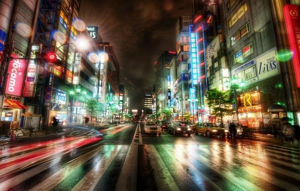 Картинка дорога, машины, ночь, здания, Tokyo, Japan