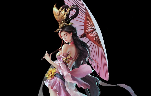 Картинка цветок, взгляд, девушка, фон, зонт, платье, арт