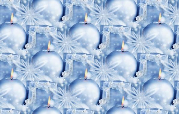 Фото обои Новый год, мишура, фон, подарок, текстура, праздник, свеча