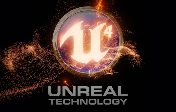 Картинка пламя, надпись, эмблема, unreal engine 4