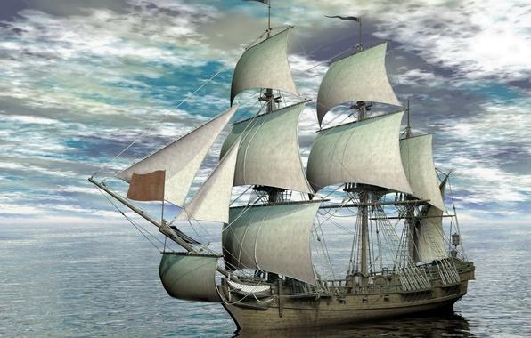 Картинка фото, Небо, Облака, Море, Корабль, Парусник, 3D Графика