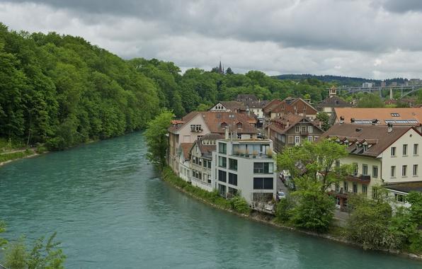 Картинка небо, деревья, река, дома, Швейцария, Берн
