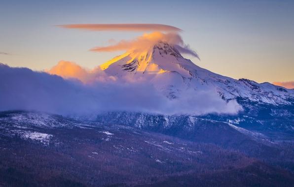 Картинка зима, снег, деревья, гора, облако, весшина
