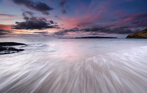 Картинка море, небо, облака, закат, тучи, берег, вечер, Япония, Japan, sky, sea, coast, sunset, clouds, evening