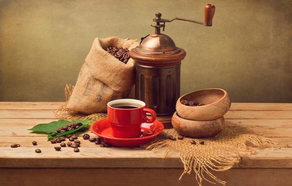 Картинка листья, кофе, зерна, чашка, красная, блюдце, мешочек, кофемолка