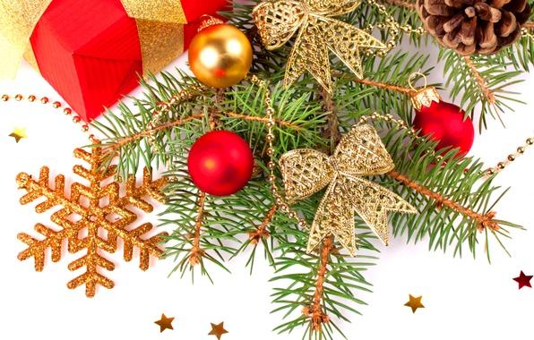 Картинка веточка, праздник, подарок, игрушки, звезда, елка, новый год, ветка, блестки, лента, new year, новогодние украшения, …