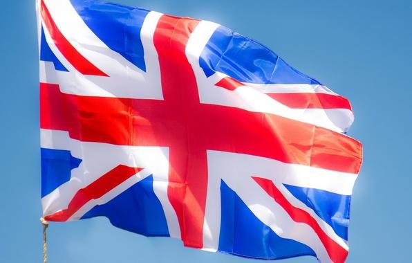 Картинка небо, свет, ветер, обои, англия, флаг, великобритания