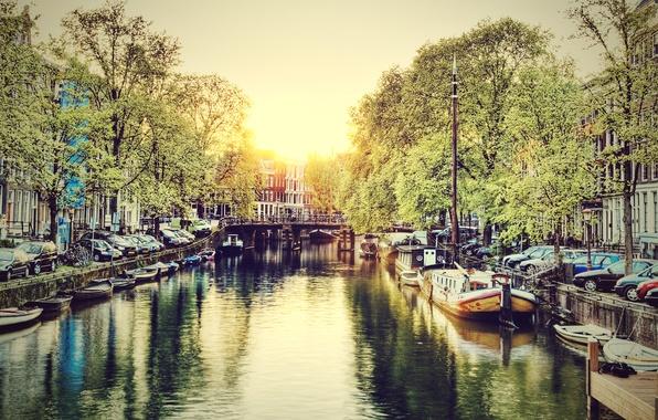 Картинка Вода, Город, Канал, Рассвет, Амстердам, Нидерланды, Amsterdam, Голландия, Netherlands, Canal at Sunrise