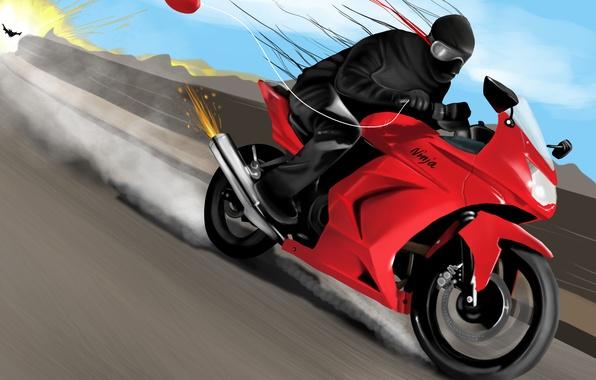 Картинка взрыв, огонь, гонка, скорость, арт, мотоцикл, ниндзя, ninja, воздушный шарик