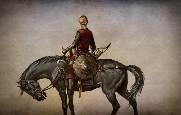 Картинка девушка, конь, игра, доспехи, воин, арт, кто, судьбы, амуниция, избранник, трус, action, ролевая, RPG., Mount …