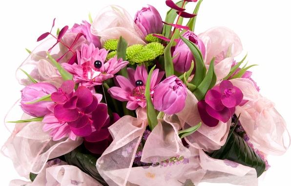 Картинка цветок, природа, букет, весна, лента, тюльпаны, бант, сиреневые, бусина