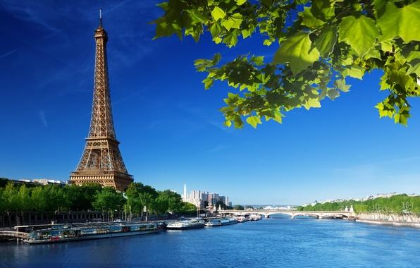 Картинка лето, небо, листья, мост, река, Франция, Париж, зеленые, Сена, Эйфелева башня, Paris, France, La tour …