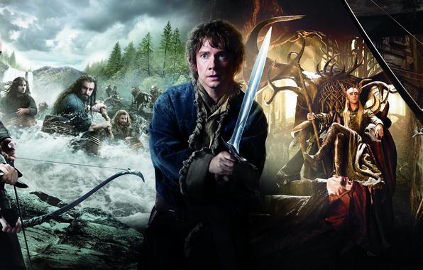Картинка эльфы, гномы, Кили, компания, Legolas, Хоббит, The Hobbit, elves, Thranduil, Фили, Леголас, Tauriel, Торин Оукеншильд, …