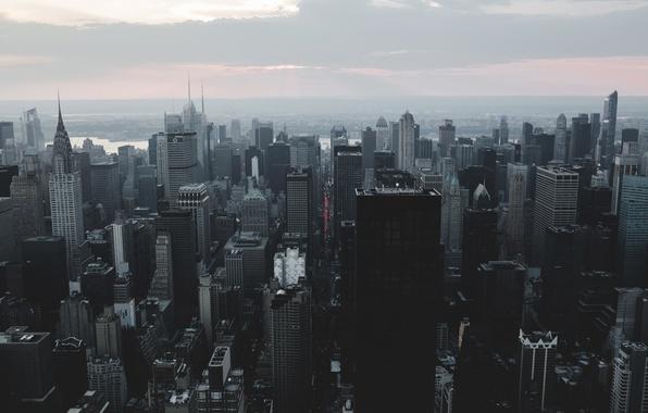 Картинка City, Sunset, Manhattan, Smoke, New-York, Building, River, Empire, State