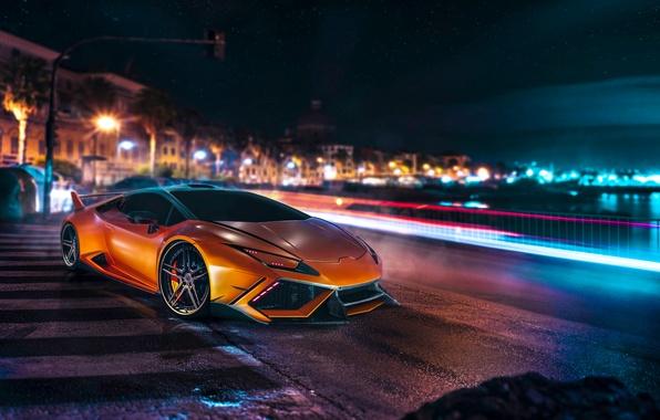 Картинка Lamborghini, Orange, Front, Night, DMC, Supercar, Huracan, LP610-4, Customs