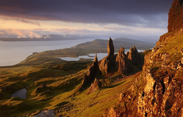 Картинка вода, горы, природа, скалы, Шотландия, Europe, rocks, Scotland, stones, skye