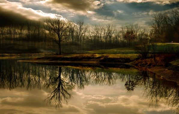 Картинка осень, озеро, парк, отражение