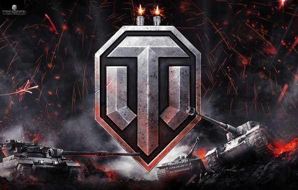 Картинка ночь, огонь, дым, логотип, свечи, искры, эмблема, танки, World of Tanks