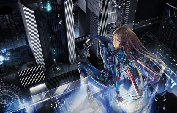 Картинка девушка, ночь, город, пистолет, оружие, высота, лента, бант