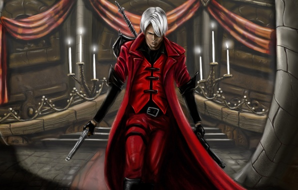 Картинка пистолеты, меч, свечи, sword, зал, охотник, Dante, красный плащ, Данте, game wallpapers, фанарт, fanart, Rebellion, …