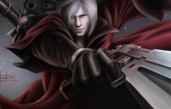 Картинка пистолеты, меч, Dante, DMC, красный плащ, Данте, game wallpapers, фанарт, Devil may cry, fanart, Rebellion, …