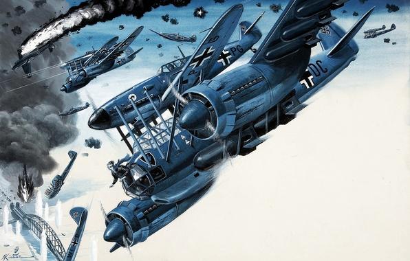 Картинка огонь, дым, взрывы, самолеты, истребители, сражение, налёт, Mort Künstler