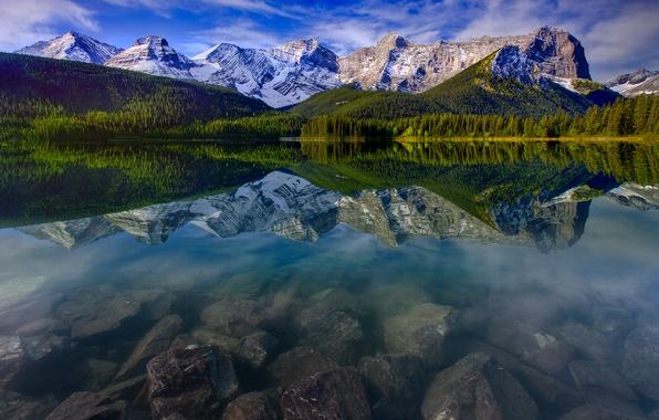 Картинка лес, небо, облака, снег, деревья, горы, природа, отражение, камни, Alberta, Canada, канада