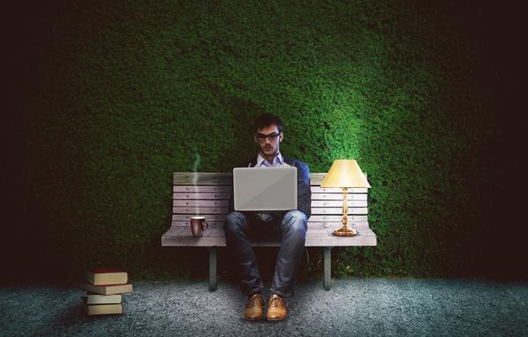 Картинка свет, скамейка, один, книги, лампа, джинсы, ботинки, очки, пар, чашка, ноутбук, напиток, парень, сидит, кусты, …