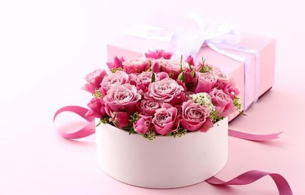 Картинка коробка, подарок, розы, букет, love, розовые, heart, pink, flowers, romantic, Valentine's Day, gift, roses