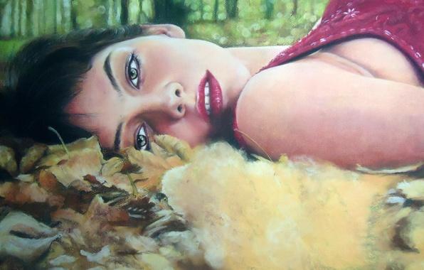 Картинка осень, взгляд, листья, девушка, лицо, волосы, макияж, живопись, зеленые глаза, красные губы
