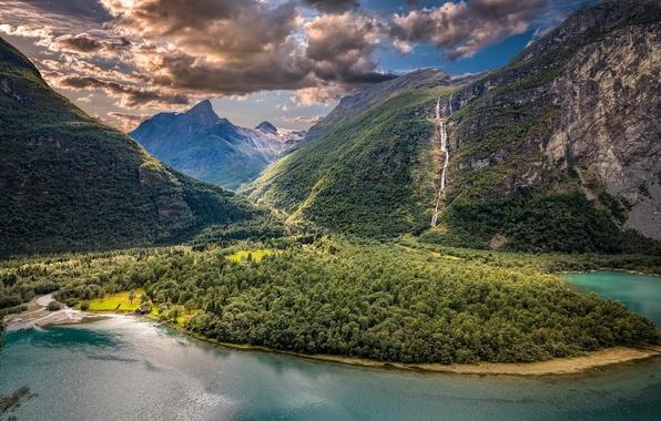 Картинка облака, горы, озеро, долина, Норвегия, панорама, Norway, Согн-ог-Фьюране, Викaн, Vikane, Sogn og Fjordane