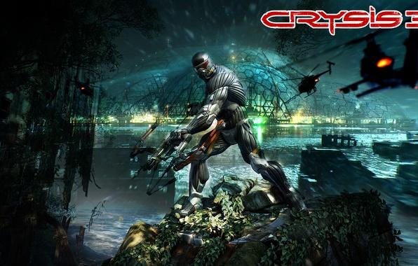 Картинка город, лук, джунгли, вертолет, купол, нанокостюм, Crytek, New-York, Crysis 3, Пророк