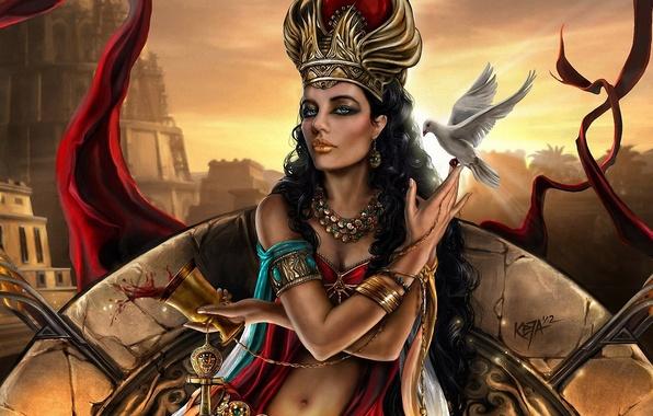 Картинка девушка, украшения, город, вино, птица, бокал, голубь, башня, арт, царица, Semiramis, Ассирия, факеты, Семирамида