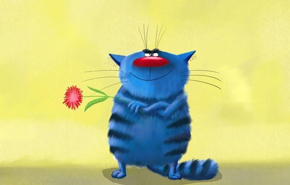 Картинка цветок, кот, синий, краски, картина, арт, астра, живопись, полосатый, cat, держит, забавный, painting, крутой, улыбается, …