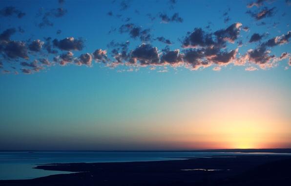 Картинка море, небо, вода, солнце, облака, пейзаж, закат, пространство, цвет, даль, горизонт