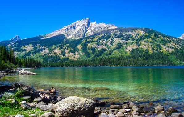 Картинка горы, природа, озеро, Wyoming, Grand Teton National Park, Emerald Lake