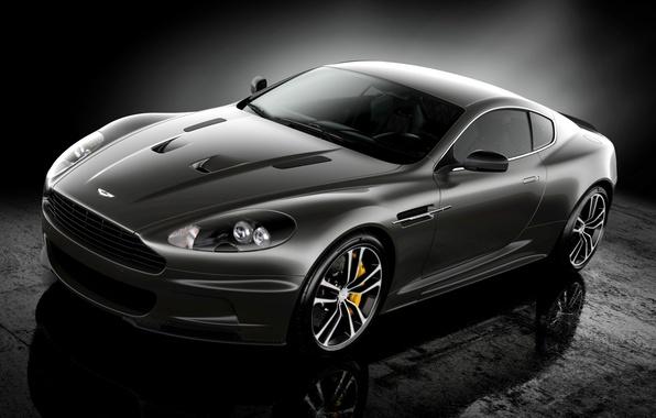 Картинка отражение, чёрный, Aston Martin, DBS, суперкар, полумрак, Ultimate, передок, Астон Мартин, спец.версия, ДБС
